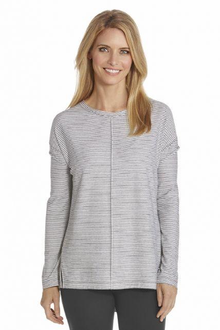 Coolibar---UV-T-Shirt-Damen---Schwarz/Weiß