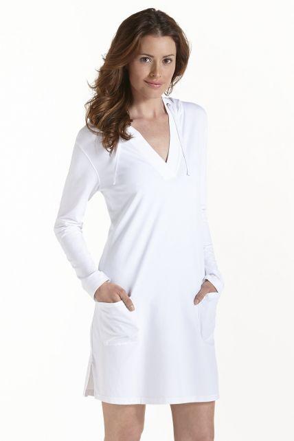 Coolibar---UV-Strandkleid-mit-V--Hals-Damen---Weiß