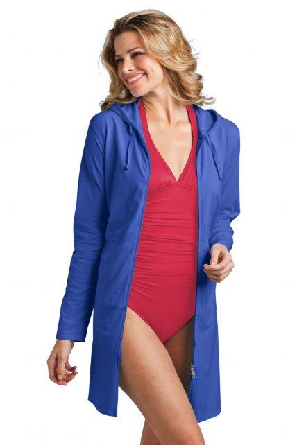 Coolibar---UV-lange-weste-für-Damen---Blau