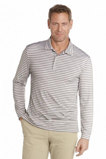 Coolibar---Langer-Arm-Golf-Polo---Graue-Streifen
