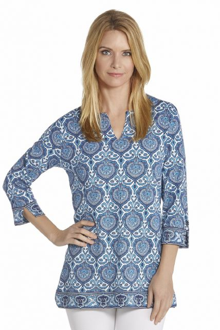 Coolibar---UV-Tunika-Top-Damen---Blau