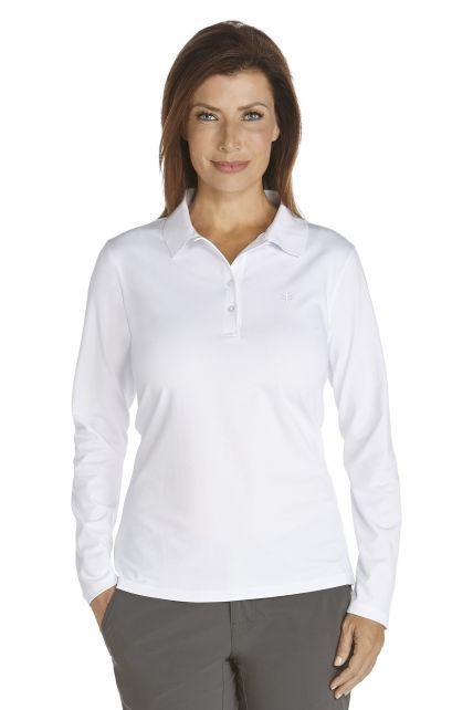 Coolibar---UV-Schutz-Langarm-Poloshirt-Damen---weiss
