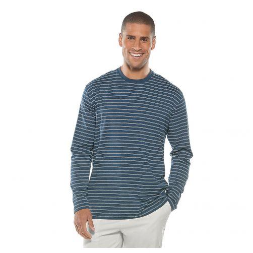 Coolibar---UV-Shirt-Langärmlig-für-Herren---Blau/Weiß-gestreift