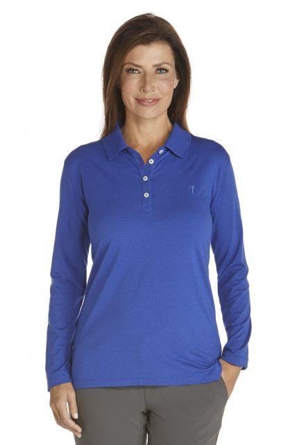 Coolibar---UV-Schutz-Langarm-Poloshirt-Damen---königsblau
