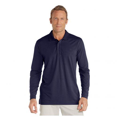 Coolibar---UV-Poloshirt-für-Herren---Langärmlig---Marineblau