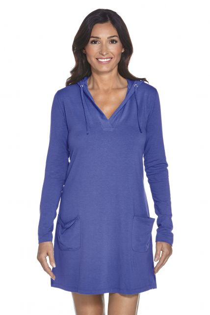 Coolibar---UV-Strandkleid-mit-V--Hals-Damen---Empire-Blau