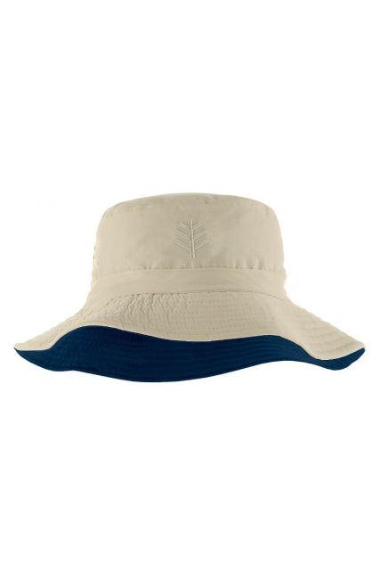 Coolibar---UV-Bucket-Hut-für-Kinder---Beige-/-Marineblau