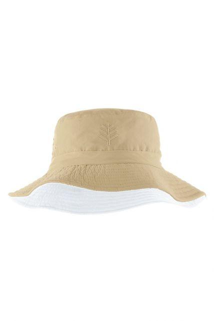 Coolibar---Wendbarer-UV-Bucket-Hut-für-Kinder---Landon---Tan/Weiß
