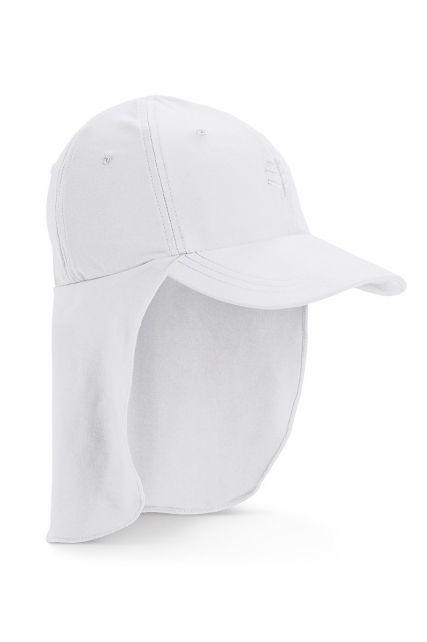 Coolibar---UV-Sonnenkappe-mit-Nackenschutz-für-Kinder---Weiß