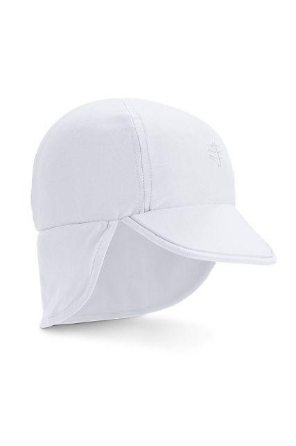 Coolibar---UV-Sonnenkappe-mit-Nackenschutz-für-Babys---Splashy---Weiß