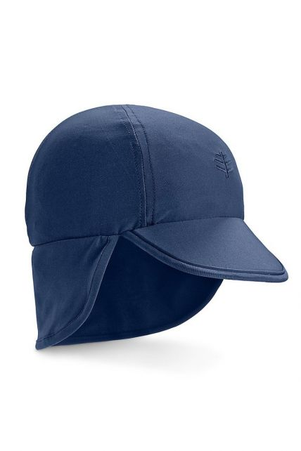 Coolibar---UV-Sonnenkappe-für-Babys-mit-Nackenschutz---Marineblau
