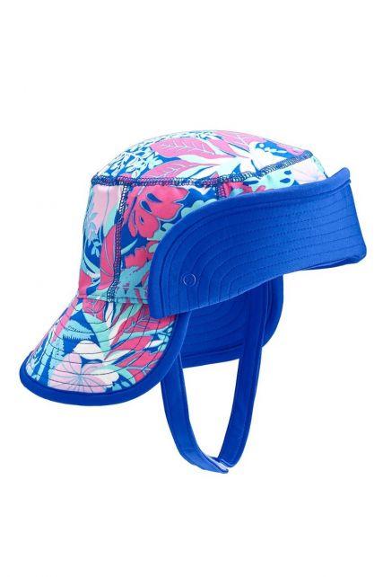 Coolibar---UV-Bucket-Hut-für-Babys---Hochklappbarer-Schirm---Tropisch-Blau
