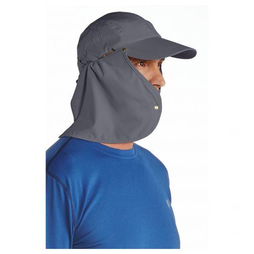 Coolibar---UV-Sonnenkappe-für-Herren-mit-Nackenschutz---Grau-/-Schwarz