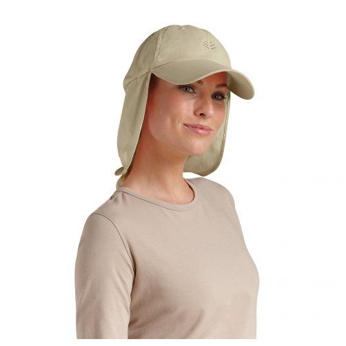 Coolibar---UV-Sonnenkappe-mit-Nacken-und-Ohrenschutz-unisex---Hellbraun