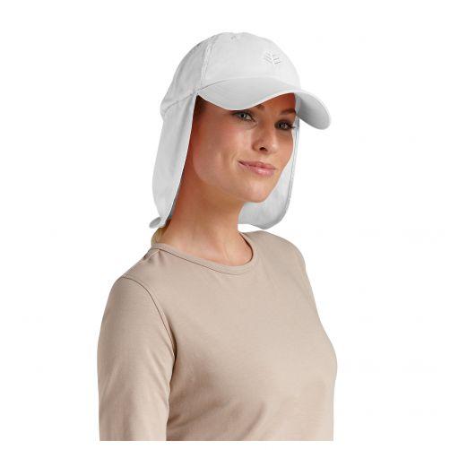 Coolibar---UV-Sonnenkappe-mit-Nacken--und-Ohrenschutz-unisex---Weiß
