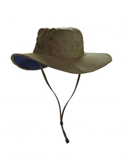 Coolibar---Formbarer-UV-Hut-mit-breiter-Krempe-für-Herren---Leo---Khaki/Navy