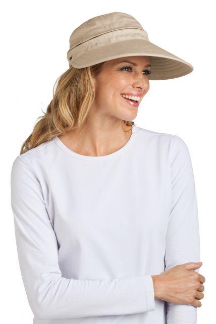 Coolibar---UV-Damen-Sonnenschild-und-Kappe-in-einem---Beige