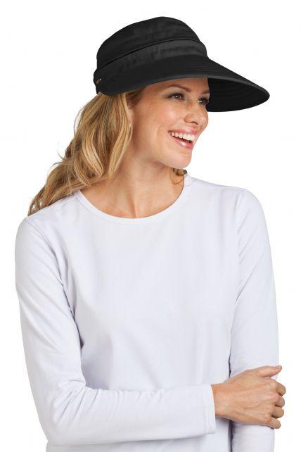 Coolibar---UV-Damen-Sonnenschild-und-Kappe-in-einem---Schwarz