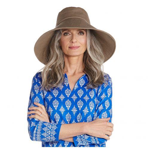 Coolibar---UV-Strandhut-für-Damen-mit-breiter-Krempe---Braun