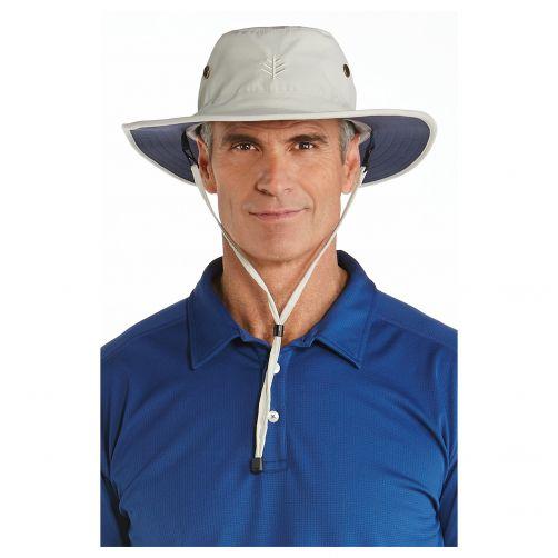 Coolibar---UV-Sonnenhut-für-Herren---Beige-/-Marineblau