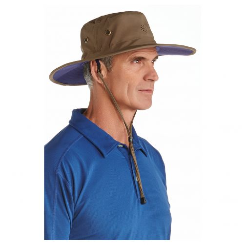 Coolibar---UV-Sonnenhut-für-Herren---Khaki-/-Marineblau