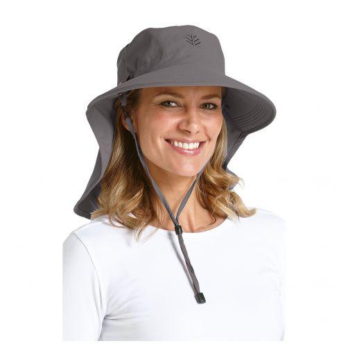 Coolibar---UV-Sonnenhut-für-Damen-mit-Nacken--und-Gesichtsschutz---Grau