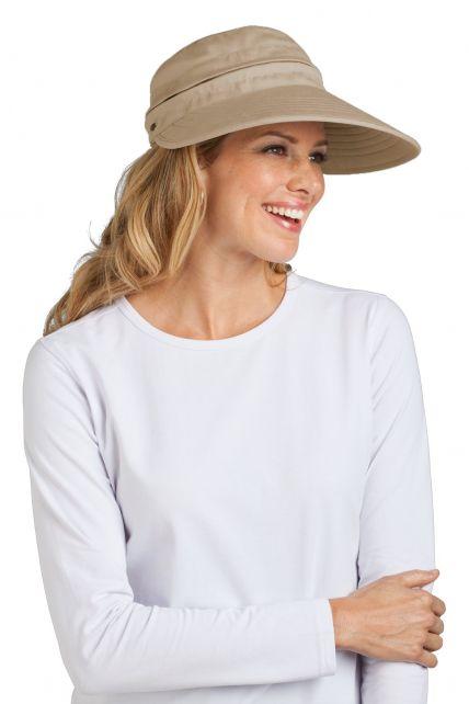 Coolibar---UV-Damen-Sonnenschild-und-Kappe-in-einem---Tan