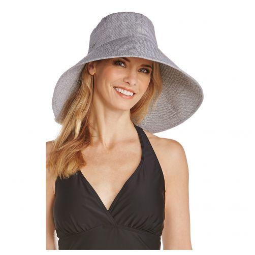 Coolibar---UV-Hut-für-Damen---Schwarz/Weiß-gestreift