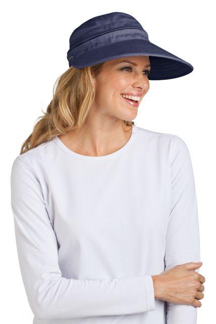 Coolibar---UV-Damen-Sonnenschild-und-Kappe-in-einem---Navy