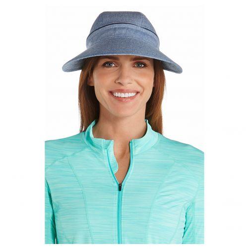 Coolibar---Multifuntionelle-UV-Sonnekappe-für-Damen---Vintage-blau