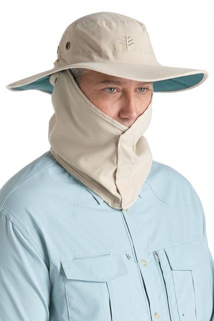 Coolibar---UV-Schutz-Hut-für-Herren---Beige/Dunkelgrün