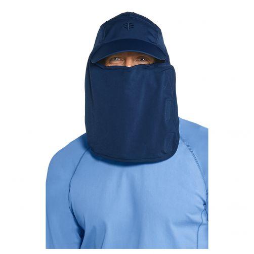 Coolibar---UV-Kappe-mit-Nacken--und-Gesichtsschutz-für-Herren---Blau