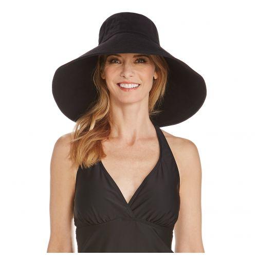 Coolibar---UV-Strandhut-für-Damen-mit-breiter-Krempe---Schwarz