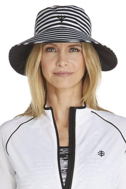 Coolibar---UV-Schutz-Wende-Schwimmhut-für-Damen---Schwarz/Weiß-gestreift