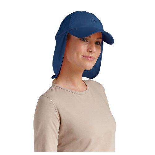 Coolibar---UV-Sonnenkappe-mit-Nacken--und-Ohrenschutz-unisex---Marineblau