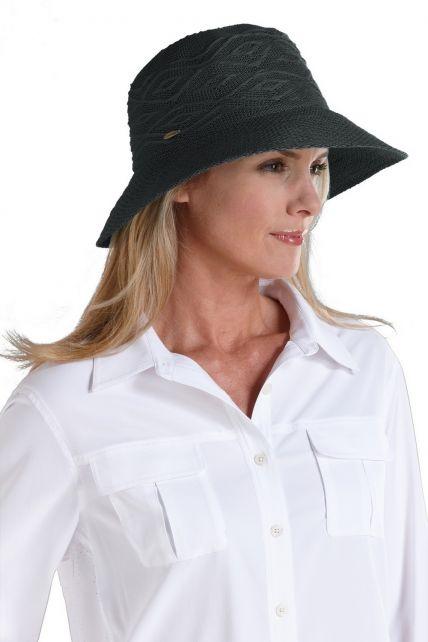 Coolibar---knitterfreier-UV-Damenhut---schwarz