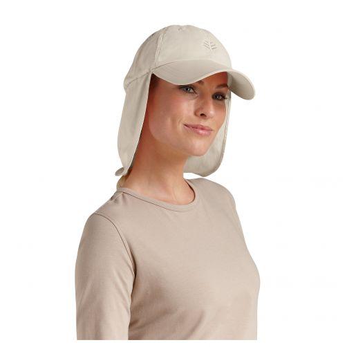 Coolibar---UV-Sonnenkappe-mit-Nacken--und-Ohrenschutz-unisex---Beige