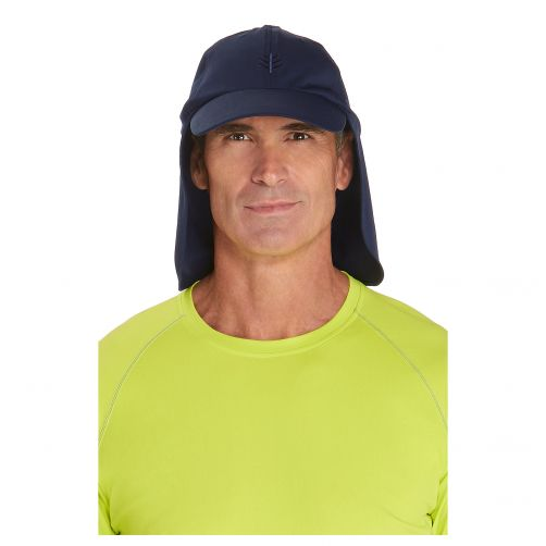 Coolibar---UV-Sonnenkappe-mit-Nackenschutz-unisex---Dunkelblau