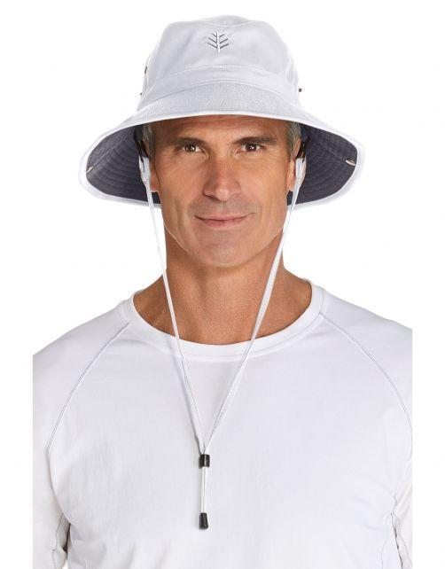 Coolibar---Federleichter-UV-Bucket-Hut-für-Herren---Chase---Weiß/Carbon