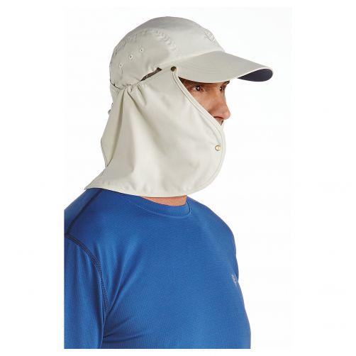 Coolibar---UV-Sonnenkappe-für-Herren-mit-Nackenschutz---Grau-/-Marineblau