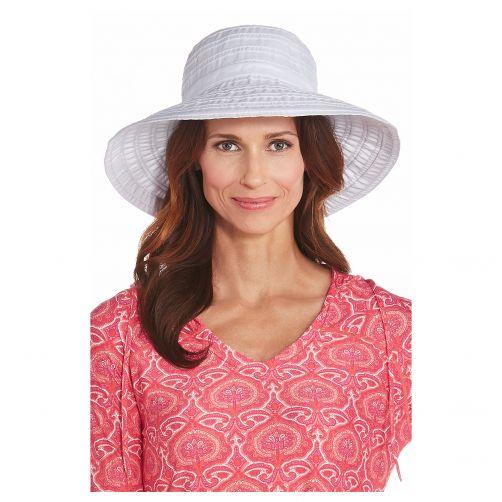 Coolibar---UV-Schlapphut-für-Damen-mit-Schleife---Weiß