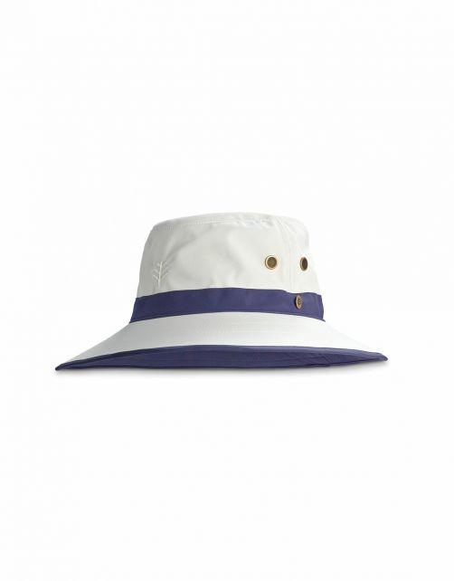 Coolibar---UV-Golfhut-mit-breiter-Krempe-für-Erwachsene---Matchplay---Stein/Marineblau