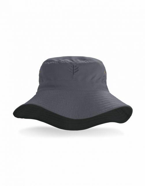 Coolibar---Wendbarer-UV-Bucket-Hut-für-Erwachsene---Landon---Carbon/Schwarz