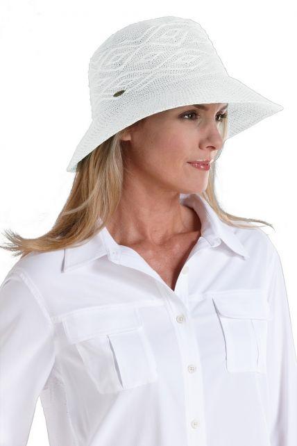 Coolibar---knitterfreier-UV-Damenhut---Weiß