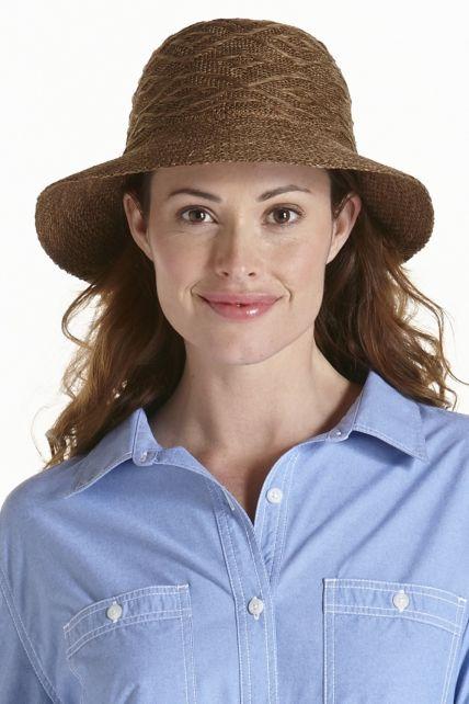 Coolibar---knitterfreier-UV-Damenhut---Braun