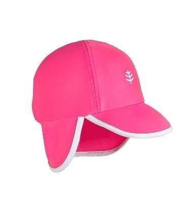 Coolibar---UV-Sonnenkappe-für-Babys-mit-Nackenschutz---Rosa/Weiß