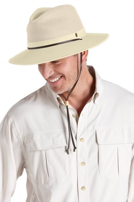 Coolibar---UV-Schutz-Fedora-Hut-für-Herren---Beige