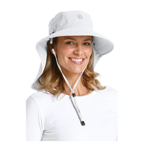 Coolibar---UV-Sonnenhut-für-Damen-mit-Nacken--und-Gesichtsschutz---Weiß