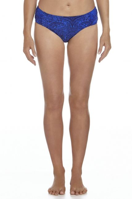 Coolibar---UPF50+-Bikini-Ruche-Unterteil--Blau-Floral-Motif