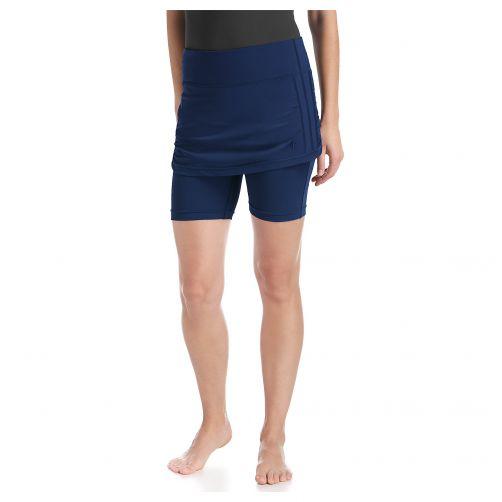 Coolibar---UV-Schwimmhose-für-Damen---Dreiviertel---Mit-Rock---Grau